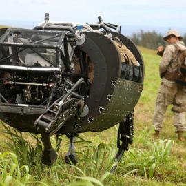 Watch an AlphaDog robot venture into (simulated) battle for the first time